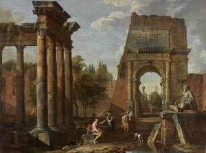 Giovanni Paolo Pannini - Architectural Capriccio, Arch of Titus with Figures
