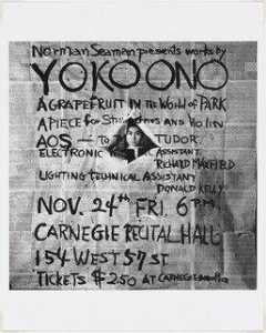 George Maciunas - Poster for Works by Yoko Ono, Carnegie Recital Hall, New York, 1961