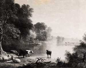 Asher Brown Durand - River Landscape with Cows and Sheep, (painting)