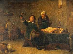 David Teniers Ii Le Jeune - A Medical Practitioner Examining a Urine Flask