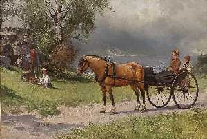 Axel Hjalmar Ender - Landscape with Horse, Carriage and People