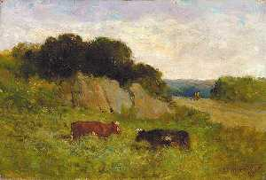 Edward Mitchell Bannister - Untitled (landscape with two cows), (painting)