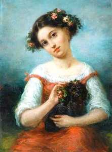 Pierre Joseph Dedreux Dorcy - Girl Crowned with Roses, Holding a Dog