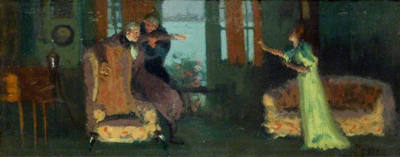 famous painting Winifred Emery (1844–1921), as Rosamund, Cyril Maude (1862–1951), as Mr Watkin, and Brandon Thomas (1850–1914), as Mr Brabazon, in 'Sowing the Wind' by Sydney Grundy of Walter Richard Sickert