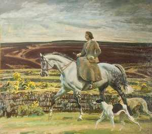 Alfred James Munnings - Lady Munnings Riding a Grey Hunter ('Magnolia') Side Saddle, with Her Dogs on Exmoor