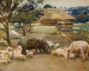 Alfred James Munnings - Pigs at Great Thurlow, Suffolk