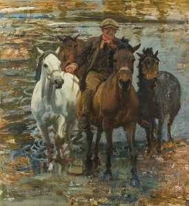 Alfred James Munnings - Study for 'The Ford'