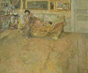 Jean Edouard Vuillard - Interior with Madame Hessel and Her Dog