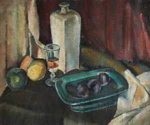 William George Gillies - Still Life with Glass Bottle and Plums