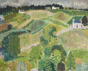 William George Gillies - Landscape with Cottages, Fields and Mixed Trees