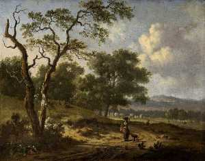 Jan Jansz Wijnants - Landscape with a Woman and a Dog