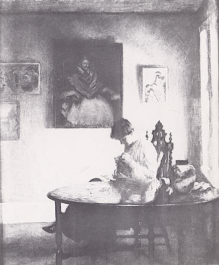 famous painting A Girl Crocheting, (painting) of Edmund Charles Tarbell