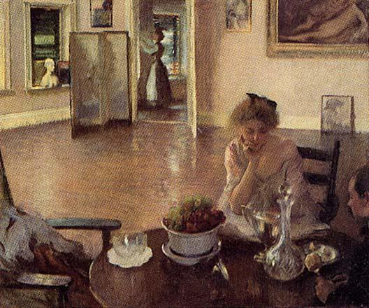 famous painting The Breakfast Room, (painting) of Edmund Charles Tarbell