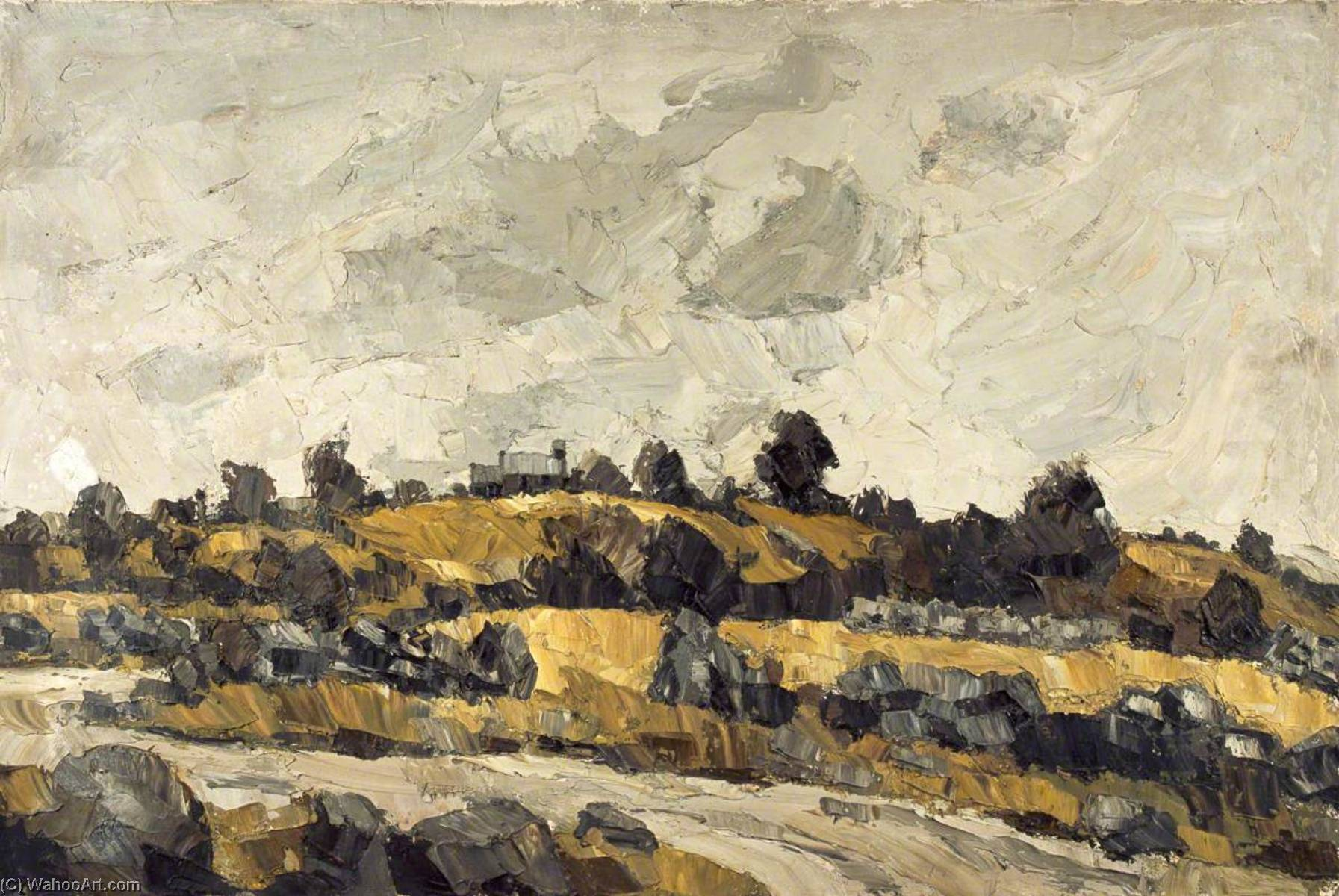 | Yellow Fields under a Grey Sky by John Kyffin Williams | TopImpressionists.com