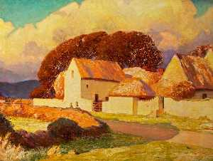 Christopher Williams - Farm Buildings (Kenfig) Bathed in Sunlight beneath Luminous Clouds