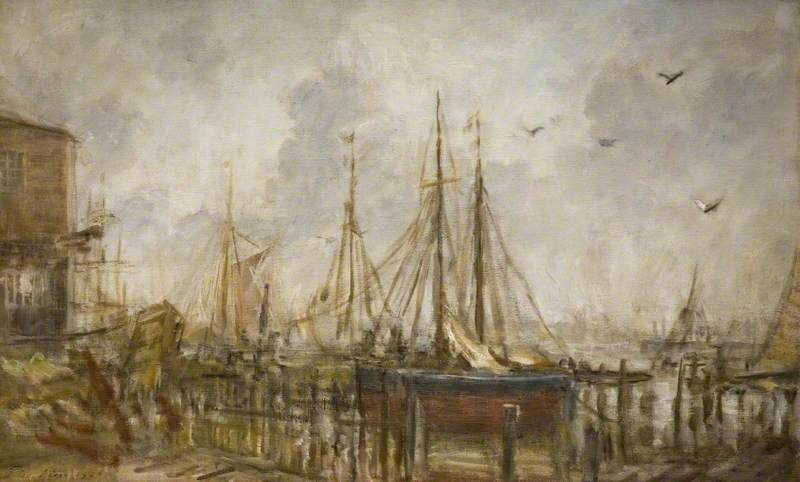 famous painting A Shipyard, Shoreham, Sussex of Philip Wilson Steer