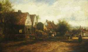 Frederick Waters (William) Watts - A Village Scene with Figures