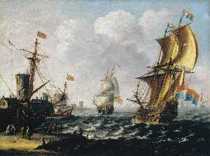 Lorenzo A Castro - Dutch Levanters in a Rough Sea