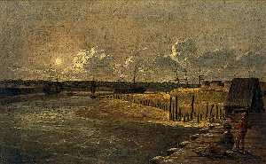 Robert Ladbrooke - Yarmouth Harbour, Moonlight