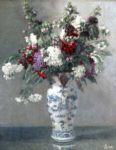 Maxwell Gordon Lightfoot - Flowers in a Blue and White Vase