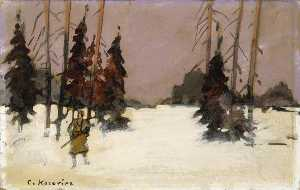 Konstantin Alekseyevich Korovin - Winter Landscape with a Hunter