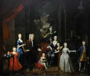 Richard Van Bleeck - Walter Aston (1661–1744), 4th Lord Aston, His Wife Mary and Their Seven Children