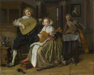 Jan Miense Molenaer - A Young Man playing a Theorbo and a Young Woman playing a Cittern