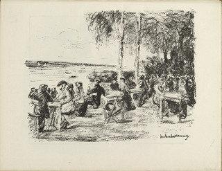 famous painting At the Elbe (An der Elbe) (plate, folio 21 verso) from the periodical Der Bildermann, vol. 1, no. 10 (Aug 1916) of Max Liebermann
