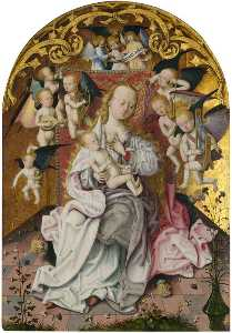 Maitre De Saint Barthelemy - The Virgin and Child with Musical Angels