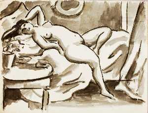 Carl Newman - Reclining Female Nude with Table