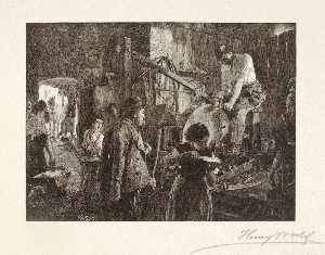 Henry Wolf - Sharpening Tools in a Village Smithy