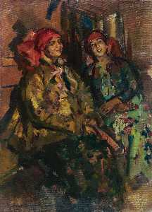 Konstantin Alekseyevich Korovin - Two Girls in Peasant Costumes