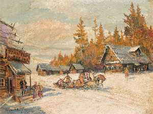 Konstantin Alekseyevich Korovin - Winter scene with Troika Winter Sleigh Ride