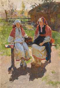 Sergei Arsenievich Vinogradov - two peasant girls