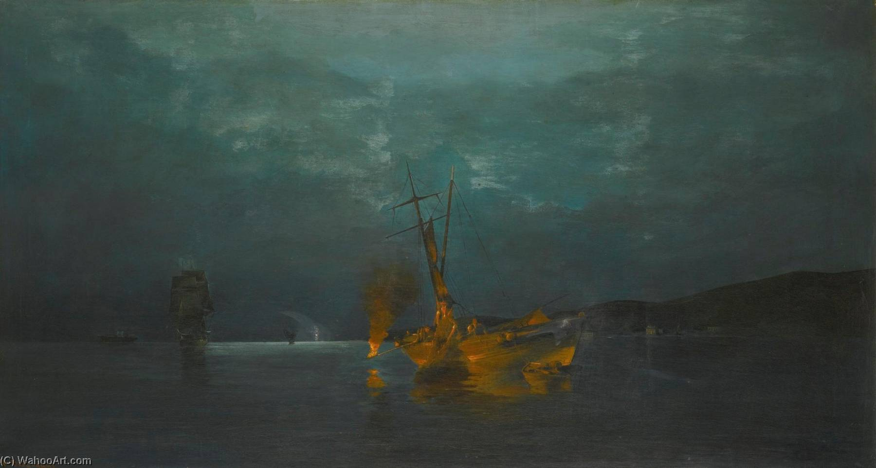 famous painting Pyrophani Firefishing of Konstantinos Volanakis