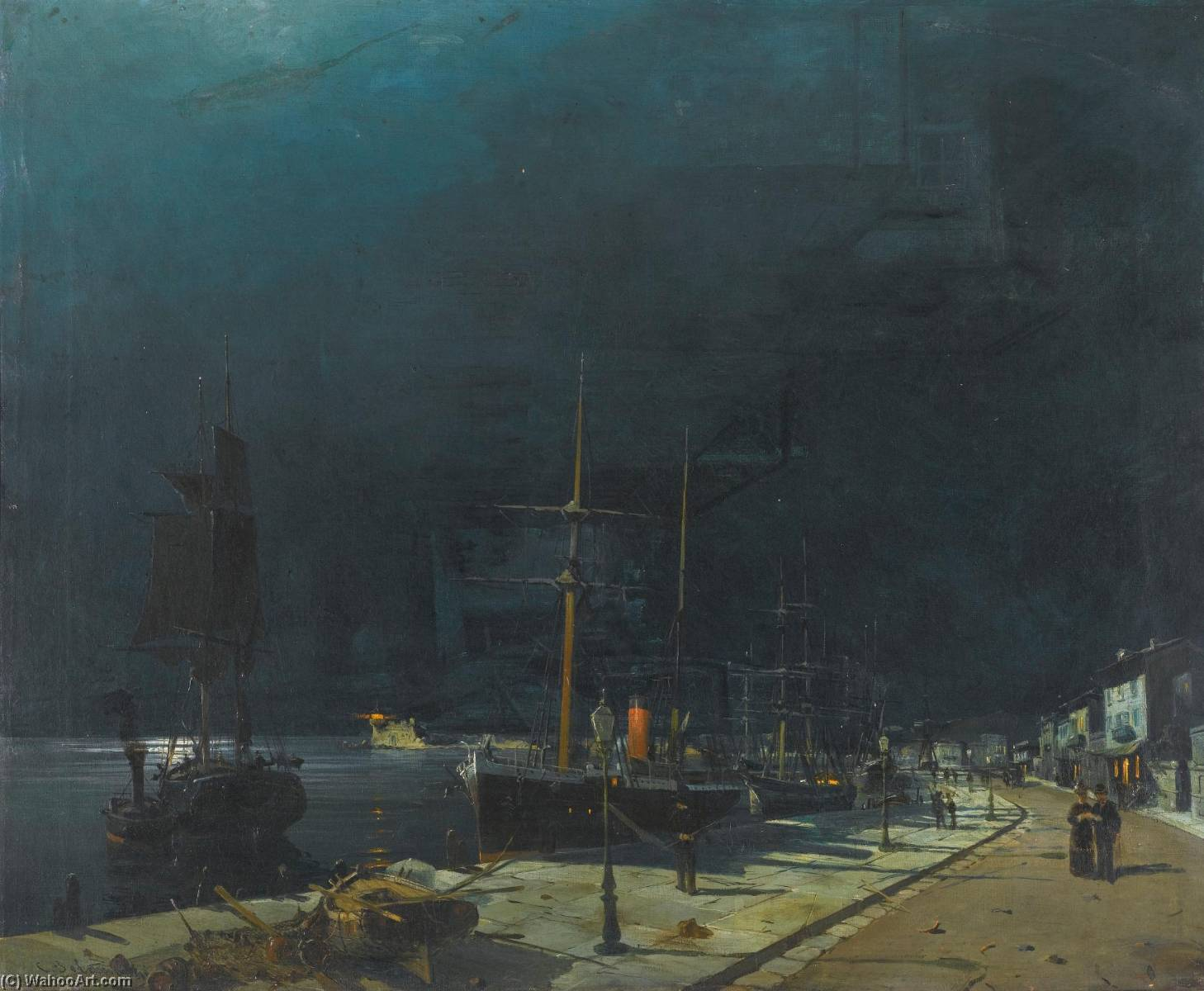 famous painting Harbour at Night of Konstantinos Volanakis