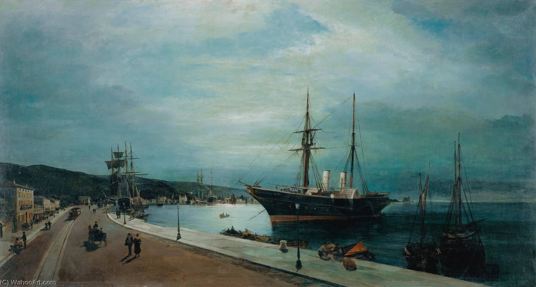 famous painting moonlit harbour of volos of Konstantinos Volanakis