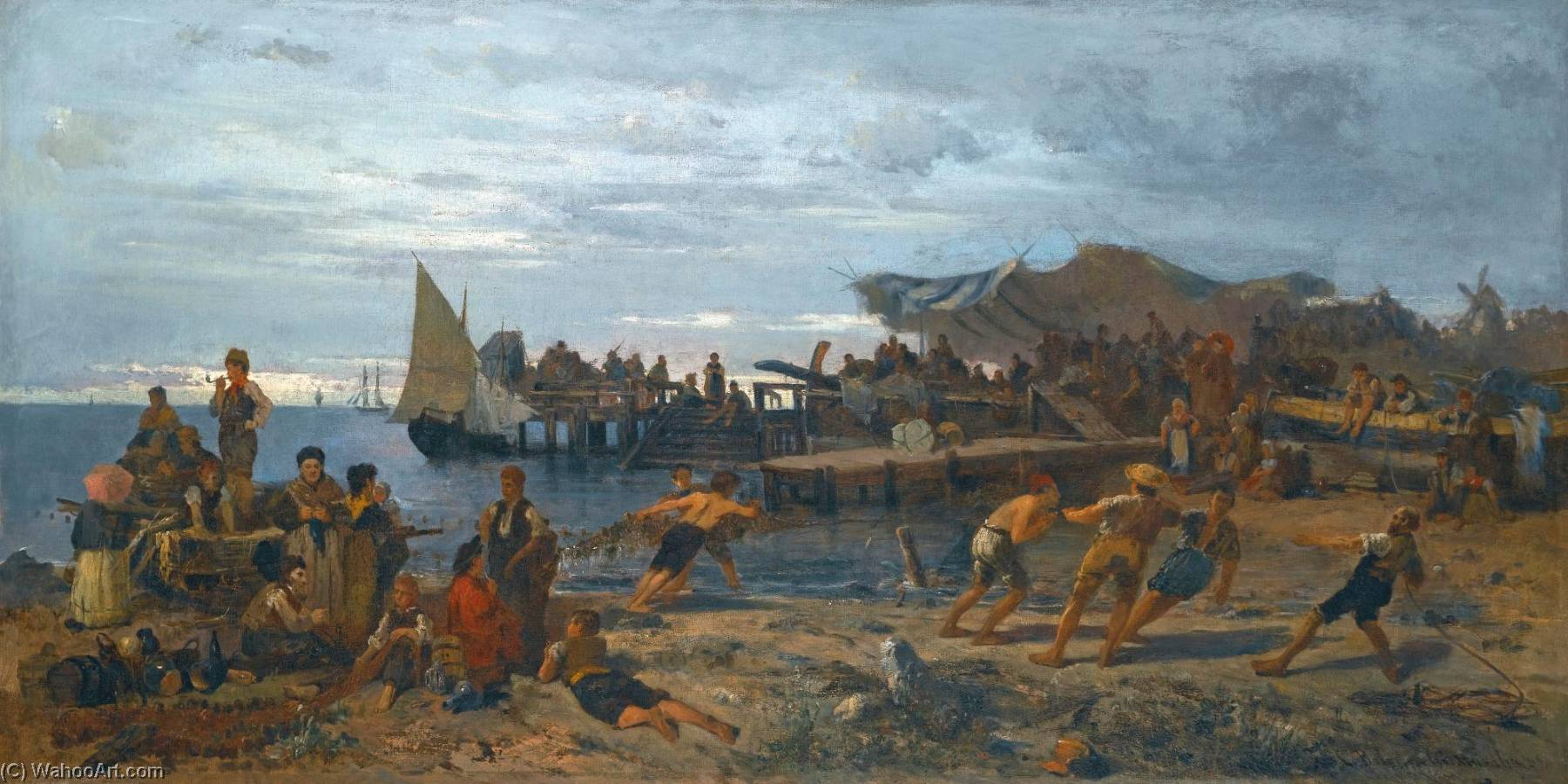 famous painting A Bustling Shore of Konstantinos Volanakis