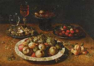 Osias Beert The Elder - A still life of apples and grapes in a blue and white porcelain bowl, raspberries and walnuts in pewter dishes, plums on a pewter dish atop a stand, together with three wine glasses and sprigs of apricots and gooseberries upon a wooden table