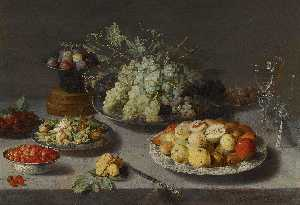 Osias Beert The Elder - Still Life of Grapes and Other Fruits with a Knife, Façon de Venise Wineglasses and other Objects on a Draped Table