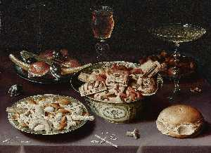 Osias Beert The Elder - a still life of porcelain vessels containing sweets, pewter plates bearing sweets and chestnuts, three pieces of glassware and a bread roll on a table draped with a mauve cloth