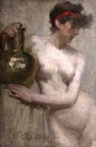 Robert Brough - Female Nude with Brass Urn