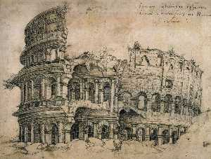 Jan Gossart - View of the Colosseum Seen from the West