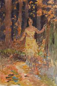 Thomas P Anshutz - Girl in Woods