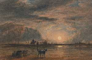 David Cox - Beach Scene Sunrise