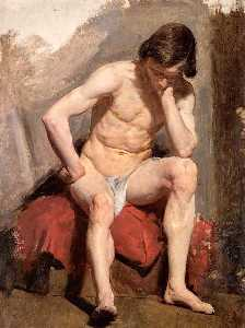 William Mctaggart - Life Study of a Seated Nude Male Model