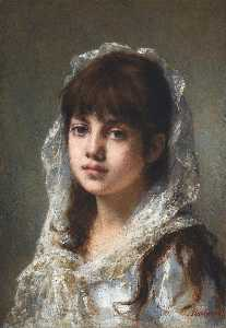 Alexei Alexeievich Harlamoff - Portrait of a Young Girl wearing a White Veil