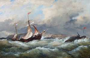 Edward William Cooke - A Dutch Galliot Entering Aberdeen Harbour in a Storm