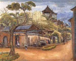 Chen Cheng Po - English Nostalgia Chen Cheng po 1941 Canvas Oil painting 72.5×91 cm 中文 懷古 陳澄波 1941 畫布‧油彩 72.5×91 cm。