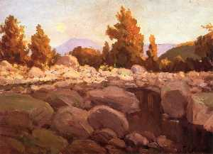 Frank Coburn - Moonrise at Sunset, Sespe Cañon